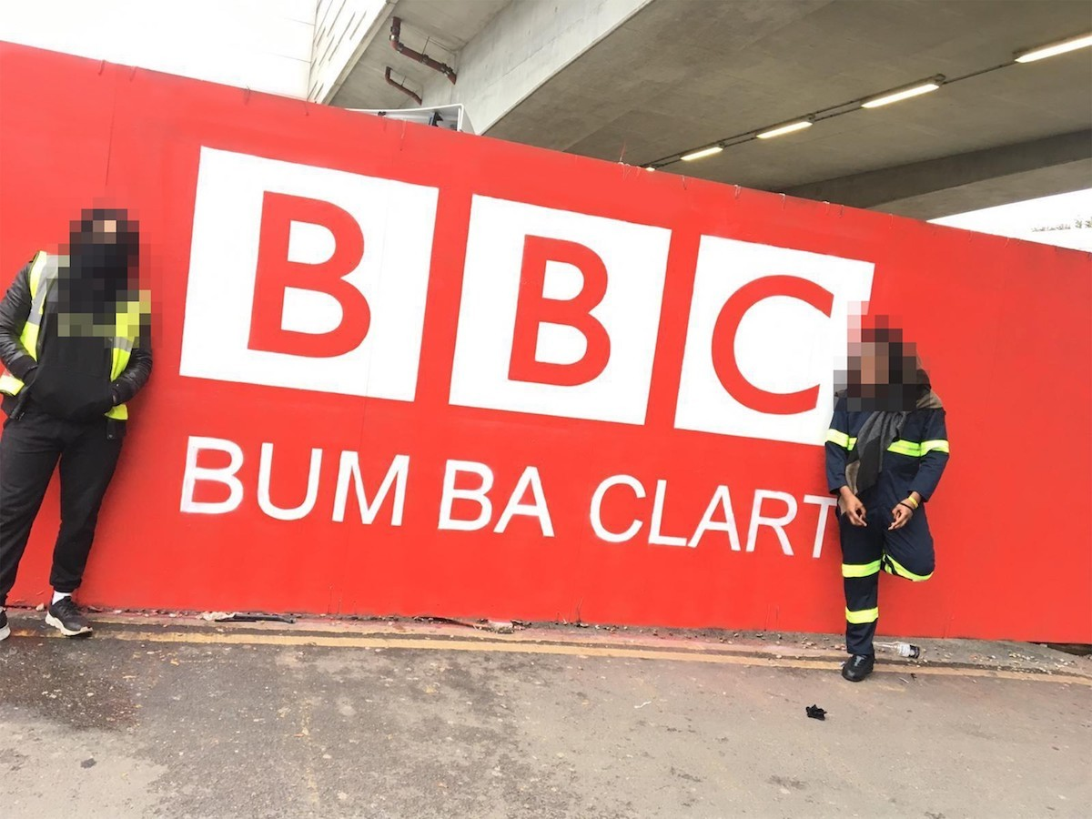 """One Thousand Words And Bowlcut Garms Take Aim At The BBC With """"Bum Ba Clart"""" Mural"""