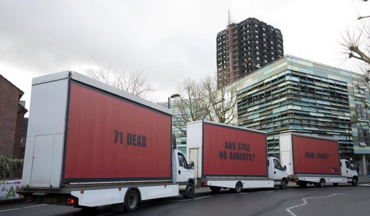 Inspired By 'Three Billboards Outside Ebbing, Missouri', #Justice4Grenfell Campaigners Place Signs Demanding Answers